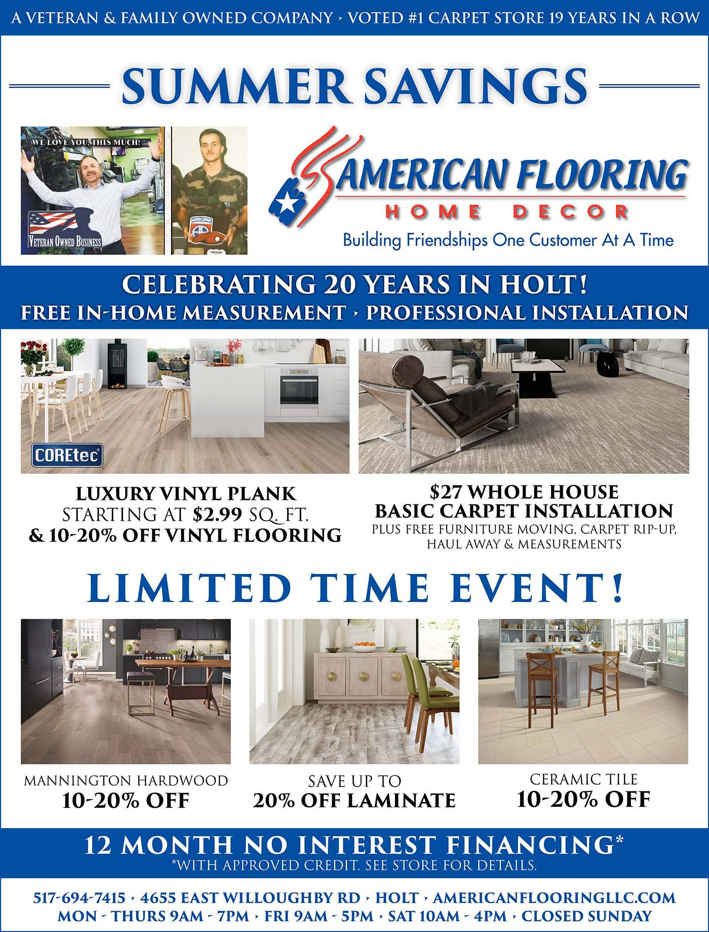 Summer Savings Going On Now at American Flooring Home Decor